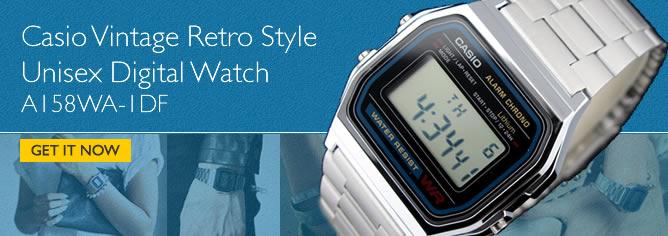 Casio Vintage Retro style Unisex Digital Watch A158WA-1DF, A158WA-1