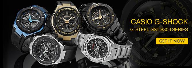 Casio G-Shock Analog Digital Solar Black Blue Sport Watch GST-S300 Series